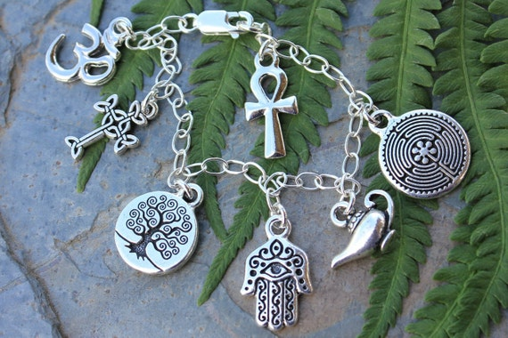 Ancient Religions Charm Bracelet- om, hamsa, tree of life, cross, ankh, labyrinth, genie - coexist - free shipping in US