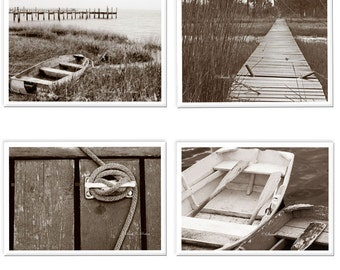 SALE! Set of 4 Canvas Wraps-Coastal Photography-Sepia Wall Canvas-Boat Dock-Rustic-Large Nautical Art-Fine Art Collection-Boat Photography