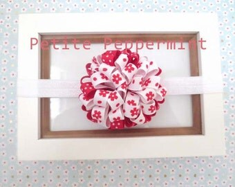 Baby headband, baby girl headband, newborn headband, toddler headband - Red and White Baby Hair Bow