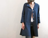 Linen Jacket - Dark Cobalt Blue with Fold Back Collar and Deep Pockets