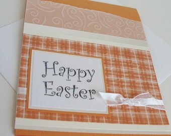 Easter Greeting Card:  Handmade Blank Note Card - Orange Kissed