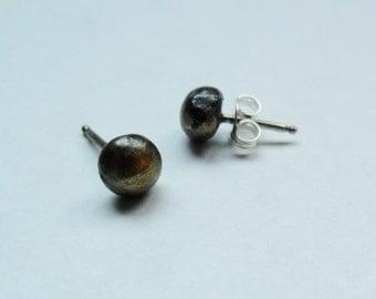 Copper Ball Stud Earrings Sterling Silver Ear Post