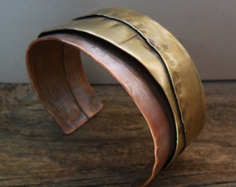 Copper Brass Cuff Bracelet Layered Original Design