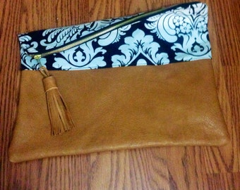 Leather and Damask Clutch with Zipper