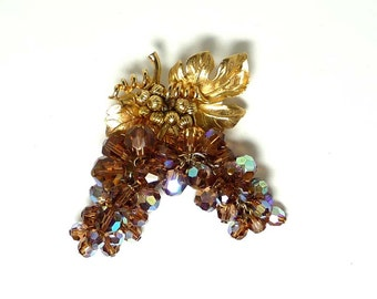 Vintage Grapes & Leaves Brooch - Unsigned Vendome Pin