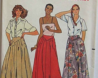 Vintage 80's Misses' Skirts in 2 Lengths, Maxi, Butterick 6461 Sewing Pattern UNCUT Size 10