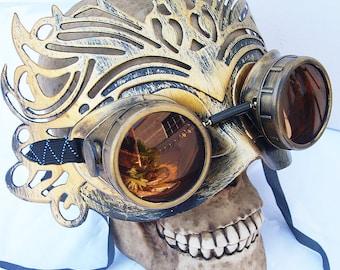 Gold Distressed-Look '50 SHADES of GREY' Influenced Elegant Steampunk Glam Ballroom Masquerade Mask & Goggles Set Combination