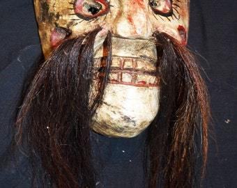 Mexican Dance Mask, Long Hair, Polychrome