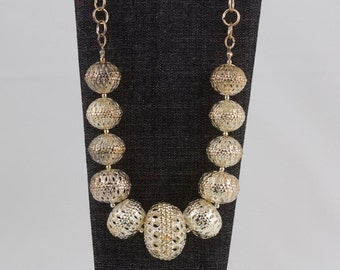 Vintage Silver Necklace, Filigree beads, Hollow silver beads. gift under 25