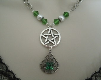 Celtic Green Pentacle Necklace, wiccan jewelry pagan jewelry wicca jewelry witch witchcraft magic goddess pentagram handfasting