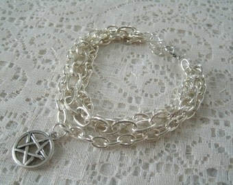 Pentacle Chain Bracelet, wiccan jewelry pagan jewelry wicca jewelry goddess witch witchcraft pentagram metaphysical gothic wiccan bracelet