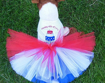 Happy 4th July America Embroidery Dog Harness-Dress.