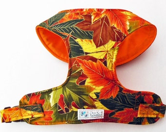 Metalic Fall Leaf Comfort Soft Dog Harness - Made to order -