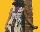 Vintage Pattern 378 Fringed Hippy Crochet Vest PDF emailed from WonkyZebra