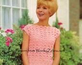 Vintage Crochet TOP Pattern PDF 713 from WonkyZebra