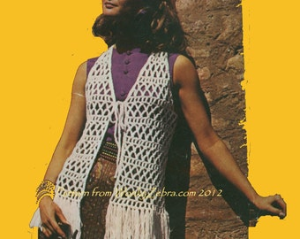 Vintage Pattern 378 Fringed Hippy Crochet Vest PDF emailed from WonkyZebra