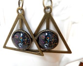 Antique Bronze triangle Art earrings by Tarra Lu- Gift ideas