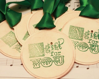 Christmas Tags (Triple Layered) - A Gift for You Tags - Handmade Vintage Inspired Christmas Gift Tags - Set of 8