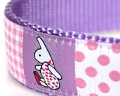 Sample Sale, Bunny and Dots Dog Collar, 1 inch width,  Big Dog Collar,  Size Medium 1 inch Available, Ready to Ship