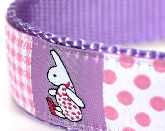 Bunny and Dots Dog Collar / 1 inch width / Big Dog Collar / Adjustable