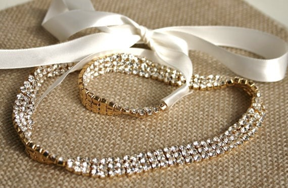 GOLD Bridal Headband - Rhinestone Tiara - Wedding Hair Accessory