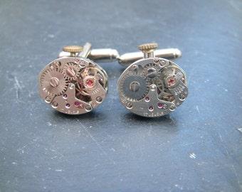 Industrial Watch Movement Cufflinks with genuine swiss watch movements