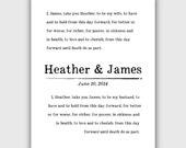 Custom Wedding Vows Print, Personalized typography, vintage