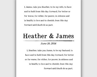 Custom Wedding Vows Print, Personalized typography, vintage