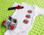 Newborn Baby Girl Set: Baby Booties, Headband & Onesie