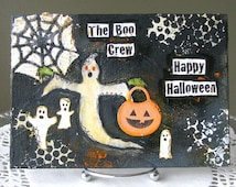 5x7 Mixed Media Flat Canvas Halloween Ghosts