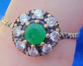 HUGE SALE, Emerald and White Sapphire Vintage Rings .60ctw.  Your choice.