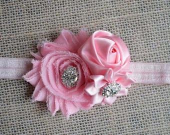 PINK Flower Girl Headband. Pink Flower Headband. Cluster Headband, Baby Hair Accessories, Baby Girls Hair Accessories. Flower Girl. Pink