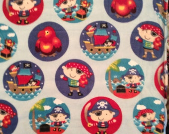 A Pirates With Their Treasure In Circles Fleece Fabric By The Yard Free US Shipping