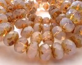 25 Translucent Pale Rose Opal  Fire Polish Roundel Beads with a Light Picasso Fisnish 9x6mm