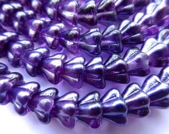 50 Czech Glass Bell Flower Beads  in a Beautiful Purple Salvia Luster 8 X6mm