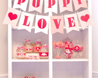 Puppy Love Valentine Printable Party Package