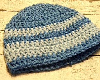 Clearance Boys Crochet  Beanie Size 0-3 Months Ready To Ship / Two Tone Blue