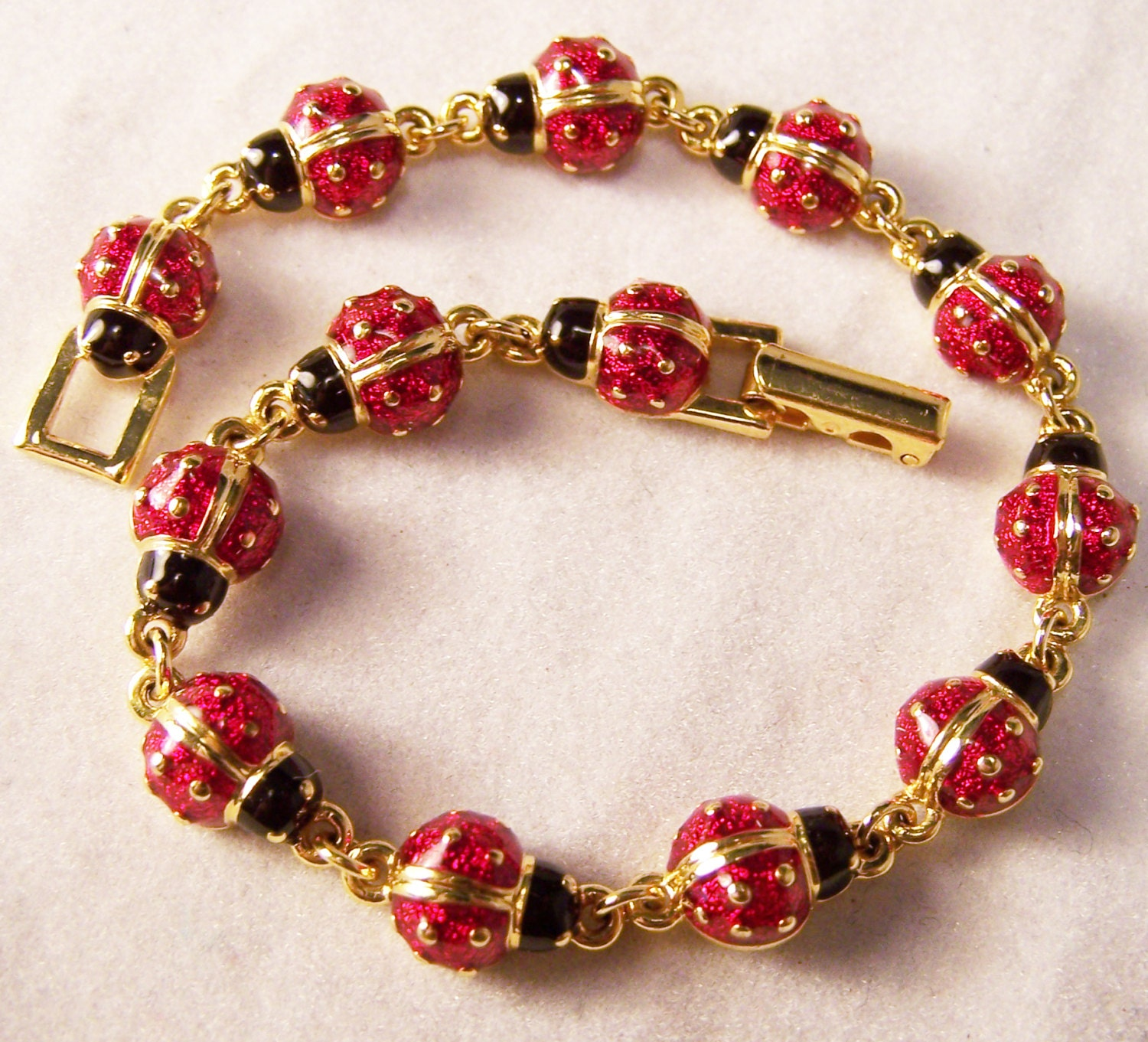 Joan rivers classics collection red enamel ladybug bracelet for Joan rivers jewelry necklaces