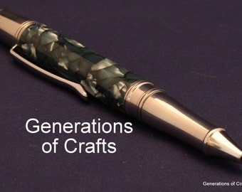 Handmade Pen - Vintage Pen Blue Ice Cebloplast by Mazzucchelli of Italy - MADE in USA - Anniversary Gift ** BP 044 **