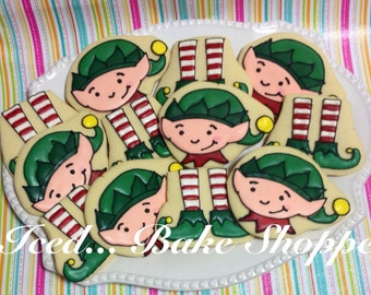 Santa's Workshop - Christmas Elf Sugar Cookies - 1 dozen