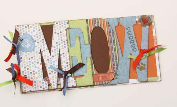 Cat chipboard mini word album, pet chipboard scrapbook, colorful kitty photo album, premade -MW1
