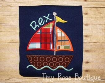 Sailboat Applique Shirt, Bodysuit, Nautical Shirt - Can Be Personalized