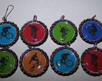 Motorcross Party Favors / Boys BMX Party Favors / Bottle Cap Zipper Pulls or Necklaces / Boys Party Favors