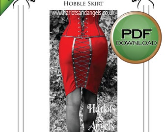 """PDF Instant download Fetish Clubwear Burlesque Gothic  Wiggle / Hobble """"Corset"""" skirt Sewing Pattern"""