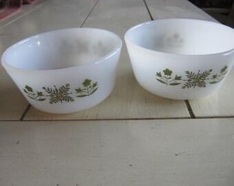2 Pyrex Corning White Meadow Green  Custard Cups