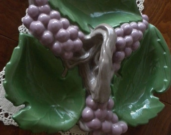 Vintage Grape Hand Painted Candy Dish