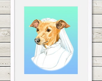 Italian Greyhound Art - Italian Greyhound Bride Dog Portrait Painting - Wedding Dog Art, modern dog home decor, dog gift