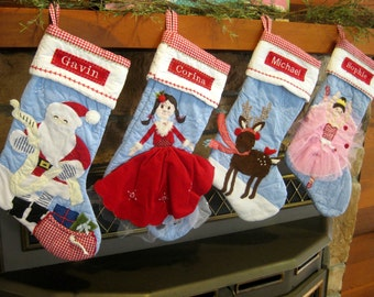 Girl's Personalized Stocking Pottery Barn Quilted  ---  Girl With Red Dress --- Free Monogram