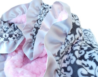 Grey and White Damask Minky Baby Blanket with Pink Swirl Minky and Satin Ruffle Trim Lovey Size