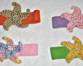 Baby Headband: Crocheted Starfish on stretchy headband, light colors